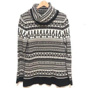 Loft wool blend Christmas sweater cowl neck large